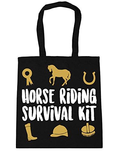 HippoWarehouse equitación Kit de supervivencia bolsa de la compra bolsa de playa 42cm x38cm, 10litros negro