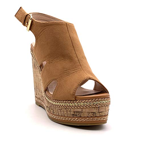 Plataforma Paja Cm 12 Classic Camel Corcho Moda Mujer Zapatillas retro Mules Con Angkorly Sandalias Vendimia Bv0O4q4T