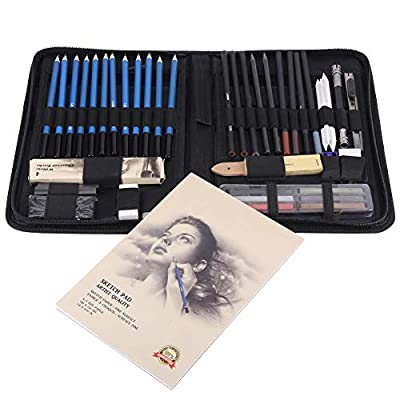 48PCS Professional Sketching Drawing Pencils Kit with Carry Bag,Graphite Charcoal Pencils Erasers Craft Knife Sketch Book,Art Painting Tool Set for Kids & Adults