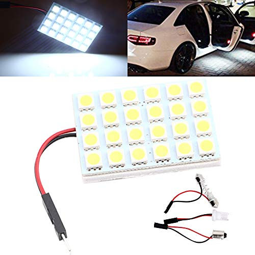 - Qasim 5050 24-SMD LED Panel Dome Light Auto Car Interior Reading Plate Light Roof Ceiling Interior Lamp with T10 / BA9S / Festoon Adapters White(Pack of 6)