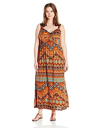 Allison Brittney Women\'s Plus-Size Printed Knot-Front Maxi Dress