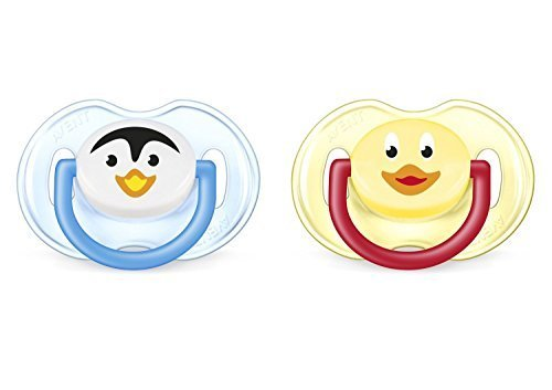 Philips AVENT BPA Free Animal Pacifier, 0-6 Months, Penguin/Duck, 2-Pack Penguins Duck