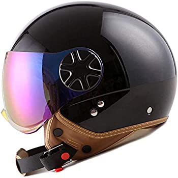 1STORM MOTORCYCLE SCOOTER BIKE OPEN FACE/HALF FACE HELMET CLASSIC GLOSSY BLACK