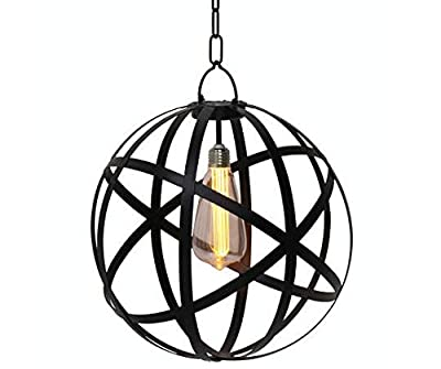 "Edison Bulb Chandelier Battery Operated For Indoor or Outdoor Space Bring Industrial Tones to Your Home Metal Frame 12""D x 13.25""H"