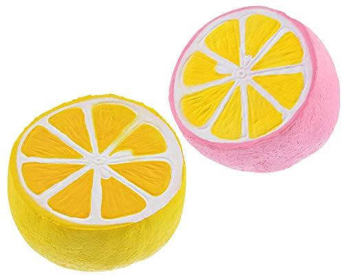 (HIFUAR 2Pcs Slow Rising Jumbo Squishies Toys Kawaii Scented Toy Extrusion Rebound Plaything Stress Reliever Squeeze Toys Lemon Pattern 4.3