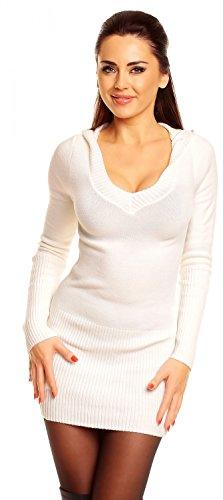 Zeta Ville - Jersey Vestido tipo suéter de punto con capucha - para mujer - 908z Ecru