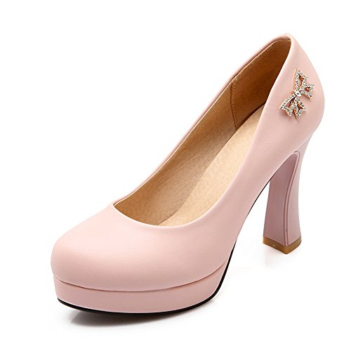AmoonyFashion Womens Round Closed Toe High-Heels Soft Material Solid Pull-on Pumps-Shoes, Pink, 34