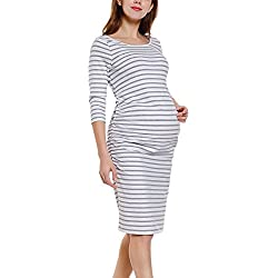 Bhome Maternity 3/4 Striped Sleeve Dress