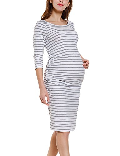 Maternity Sleeve Dress Ruched (Bhome Maternity 3/4 Sleeve Dress Ruched Bodycon Knee Length Pleated Striped Dress Grey and White L)