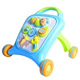 Ybriefbag-Toys Baby Three-in-one Activity Walker Baby Walker Trolley Toy Multi-Function Anti-Rollover 6-18 Months Infant Child Learning Walking Walker (Color : Blue Square, Size : 5342)