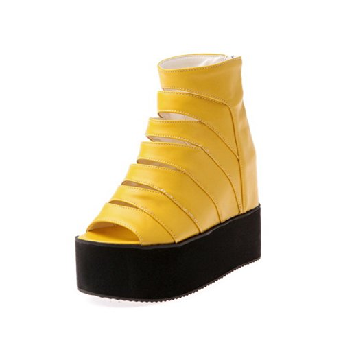 VogueZone009 Womens Open Peep Toe High Heel Platform Wedges PU Soft Material Solid Sandals with Zipper, Yellow, 5.5 UK