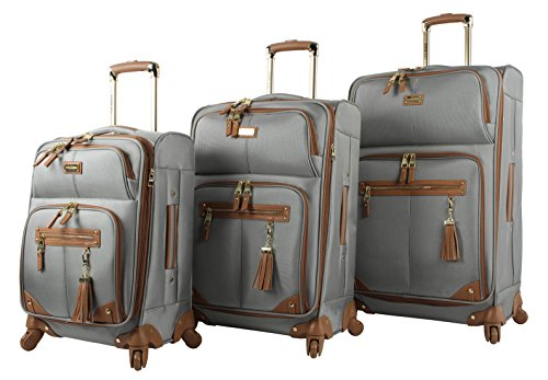 Steve Madden Luggage 3 Piece Softside Spinner Suitcase Set Collection (One Size, Harlo Gray) by Steve Madden Luggage