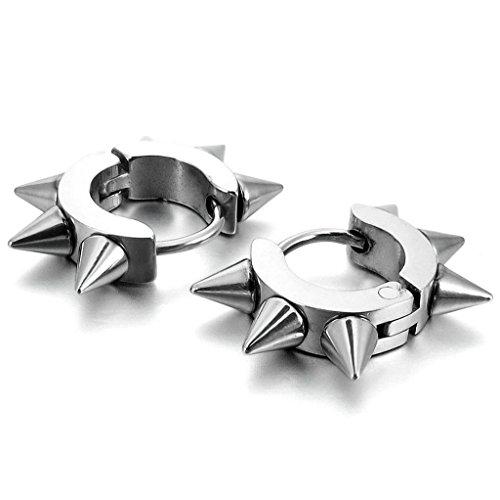 Epinki, Men's Stainless Steel Stud Hoop Huggie Earrings Silver Rivets Awl Taper Punk Rock