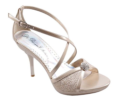De Blosssom Collection Studio-50 Strappy Bling Strass Stiletto Haut Talon Robe Sandales Nude