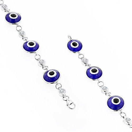 Luxurman 14K Diamond Evil Eye Bracelet Blue (White Gold)