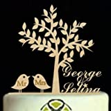 Personalized Wedding Cake Topper Bride And Groom Name, Custom Wooden Engagement Cake Topper With Birds,Rustic Mr Mrs Cake Topper