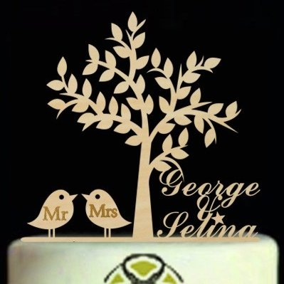Personalized Wedding Cake Topper Bride And Groom Name, Custom Wooden Engagement Cake Topper With Birds,Rustic Mr Mrs Cake Topper by Tamengi