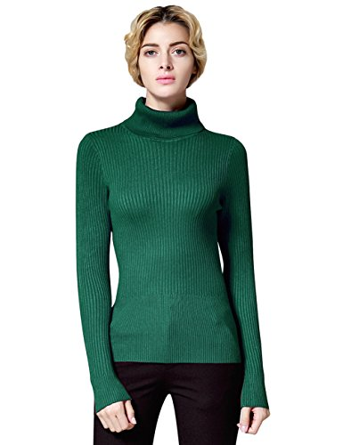 Ninovino Women's Turtleneck Ribbed Long Sleeve Jumper Sweater Green-XL (Fair Isle Turtleneck Sweater)
