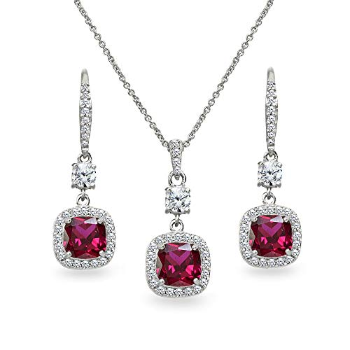 Sterling Silver Created Ruby Cushion-Cut Halo Dangle Leverback Earrings & Pendant Necklace Set (Ruby Cushion Cut)