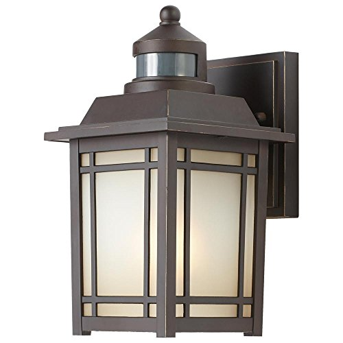 Port Oxford 1-Light Oil-Rubbed Chestnut Outdoor Motion Sensor Wall Lantern For Sale