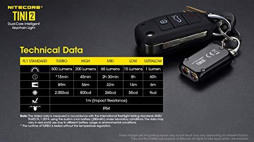 Nitecore TINI 2 Black 500 Lumen USB-C Rechargeable Keychain Flashlight plus LumenTac Charging Cable