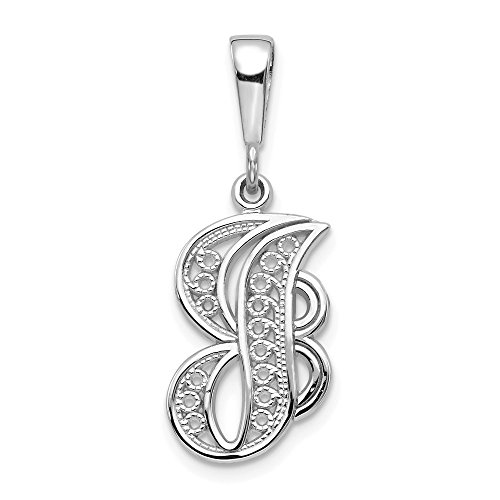 14k White Gold Solid Filigree Initial Monogram Name Letter J Pendant Charm Necklace Fine Jewelry Gifts For Women For Her