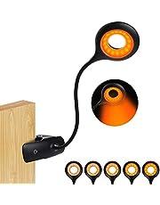 Klämma på läslampa för säng sänggavel, laddningsbar 16 LED bärnsten bokljus, 5 ljusstyrka skrivbordslampa klämlampa, touch-kontroll dimbar läslampa med flexibel hals, nattlampa [Energiklass A++]