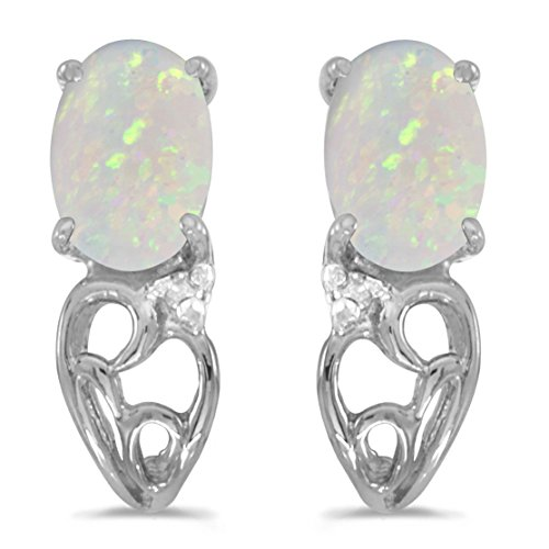 14k White Gold Oval Opal And Diamond Earrings by Direct-Jewelry