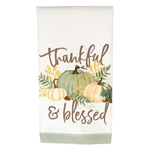 Precious Pumpkins Thankful Sage Green 23 x 13 Linen Fabric Harvest Tea Towel (Dishes Green Sage)
