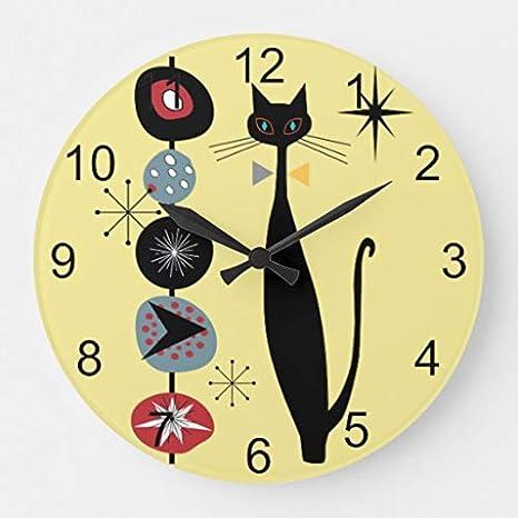 Frtkuu Retro Atomic Era Mid Century Modern Mcm Cool Cat 2 Decorative Wooden Wall Clock 12 Inch Home Kitchen