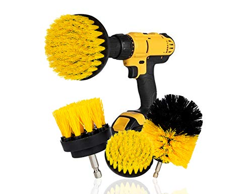 Hakkin 4Pcs Power Scrub Brush Drill Attachment Kit,Cleaning Set for Floor,Tile, Tub, Car Tires, Brick, Ceramic, Marble, Grout and Bathroom Kitchen,Yellow Drill Brush Kit with Box (With 1/4 inch Shank)