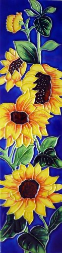 Continental Art Center MD-060 4 by 16-Inch Sunflowers with Blue Background Ceramic Art Tile from Continental Art Center
