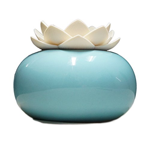 Blue Diffuser (Vyaime Aromatherapy Essential Oil Diffuser, Lotus Flower Diffuser Ceramic Decor Humidifier for Office, USB Auto Shut-off Home Air Purifier - White blue)