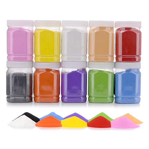 ([11 Pound] Art Sand/Scenic Sand Non-Toxic Colored Sand for Kids' Arts & Crafts, Terrarium Sand Play DIY Drawing Sandbox Wedding Sand for Decorations and Crafty Collection Sand Bottles ... (10 Bottles))