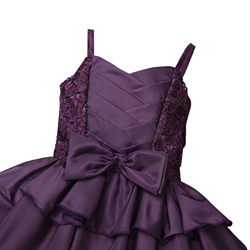 Partito Increspa Nozze Principessa Bowknot Strati Bambine Vestito Tiaobug Di Viola Ragazza Fiore Spettacolo 5a8qvx8