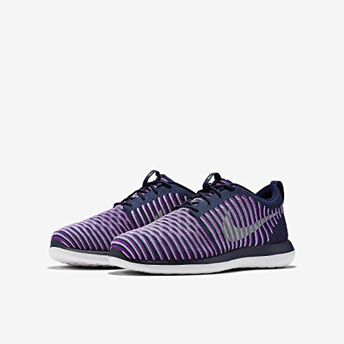 Nike Youth Roshe Two Flyknit Running Shoes-Navy Blue/ Purple-4 by Nike (Image #2)
