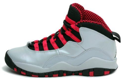 Nike Girls Air Jordan 10 Retro Kids Shoes Sneakers Wolf Grey/Legion Red/Black 87211-009 (SIZE: 5Y) by NIKE