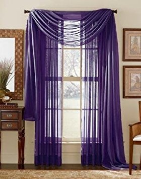 WPM  60 x 63-Inches Sheer Window Elegance Curtains/drape/panels/treatment, Dark Purple