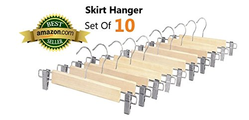 Whitmor 6026-341 Natural Wood Collection Skirt Hangers Set of 5 - 2-Sets