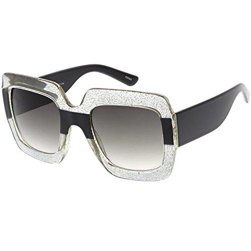 sunglassLA - Oversize Glitter Two Toned Square Sunglasses Wide Arms Neutral Colored Lens 53mm (Clear Glitter Black / (Glitter Clear Frames)