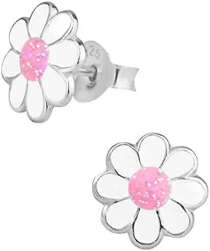 Hypoallergenic Sterling Silver Pink & White Glitter Flower Stud Earrings for Kids (Nickel Free)