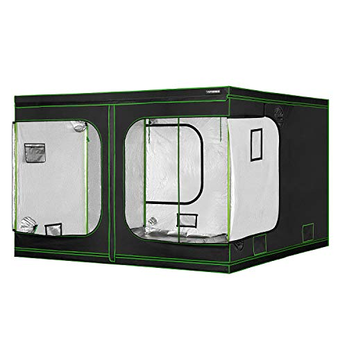 """VIVOSUN 120""""x120""""x80"""" Mylar Hydroponic Grow Tent with Observation Window and Floor Tray for Indoor Plant Growing 10'x10'"""