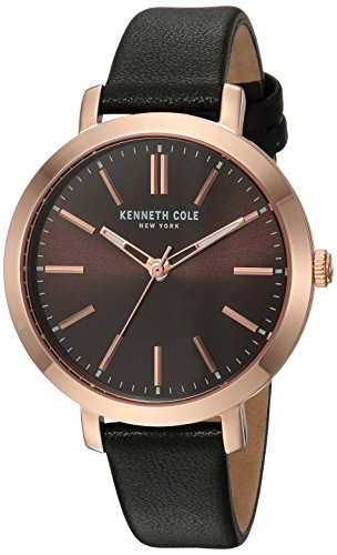 Kenneth Cole New York Women's Quartz Stainless Steel and Leather Casual Watch, Color:Brown (Model: KC15173002)