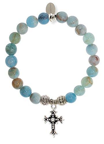 EvaDane Natural Semi Precious Aquamarine Beryl Gemstone Rope Bead Cross Charm Stretch Bracelet