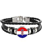 Souvenir del Braccialetto Intrecciato con Catena in Pelle con Bandiera della Croazia, Braccialetto Fatto a Mano alla Moda per Uomo e Donna