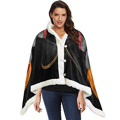 Wearable Throw Blanket Halloween Pirate Cat Cape Shawls Scarf Oversized Poncho Cape Blanket