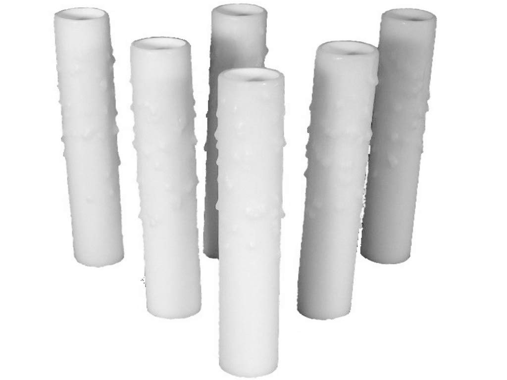 Set of 6 pc. 4-1/2'' White Candelabra Base Thin 3/4'' Inner Diameter Beeswax Candle Covers, Socket Sleeves