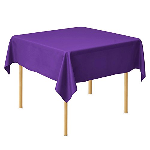 SilkLove Tablecloth - 54 x 54 Inch -Purple-square Polyester Table Cloth, Wrinkle,Stain Resistant - Great for Buffet Table, Parties, Holiday Dinner & More (Tablecloth Purple Square)