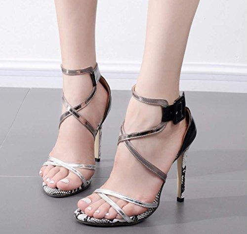 Sandals Heels Women's Black Toes Slingbacks High Pumps Party Strappy Comfortable Shoes Peep Stilettos wwx4zp0