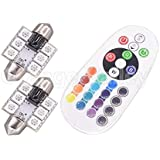1set RGB LED 36 mm Festoon 6 LED 5050 SMD Car Auto Interior Dome Light Auto Remote Controlled Colorful Led Lamp